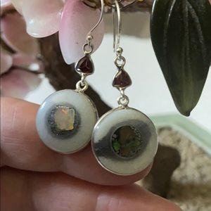 Vintage 925 opal in quartz & garnet earrings
